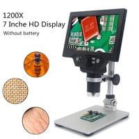 Microscopio Digital electrónico G1200, 12MP, 7 pulgadas, gran pantalla LCD, soldadura, herramienta de aumento de amplificación continua