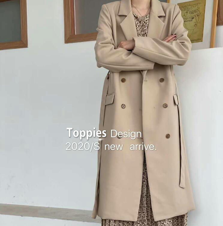 Toppies 2020 Spring Autumn Double Breasted Long Blazer Korean Fashion Jacket Chic Jackets