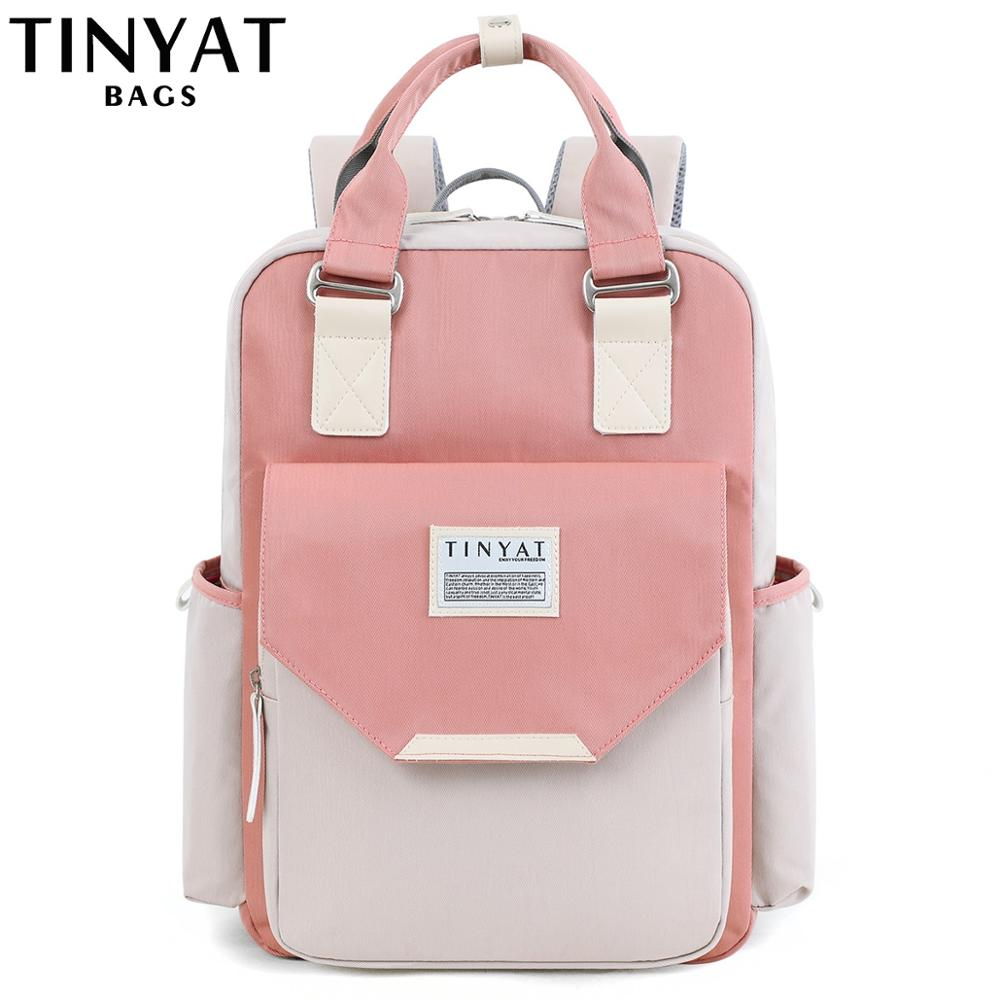 TINYAT Candy Women Canvas Backpack Waterproof Feminina Laptop Backpack 15 Pink Patchwork School Backpacks Bags For Teenage Girls