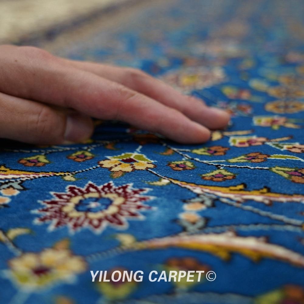 Yilong 6'x9 'Vantage əl düyünlü mavi qonaq otağı xalça ipək - Ev tekstil - Fotoqrafiya 5