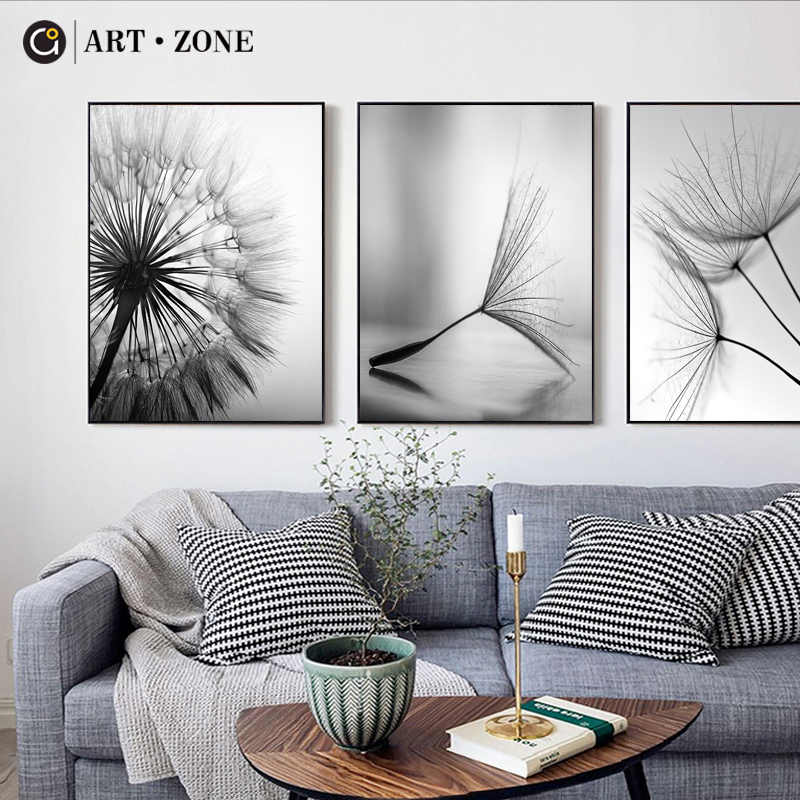 ART ZONE Dandelion Flower Canvas Painting Modern Black White Art Print Picture Home Decor Living Room Abstract Wall Poster