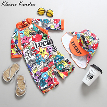 Childrens Swimwear Graffiti Print One Piece Overalls Swimming Suit for Baby Unisex UV Bathing Clothes for Girls Boys Beach Wear
