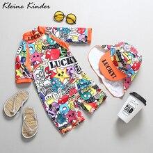 Kinderen Badmode Graffiti Print Een Stuk Overalls Zwemmen Pak Voor Baby Unisex Uv Baden Kleding Voor Meisjes Jongens Strand dragen