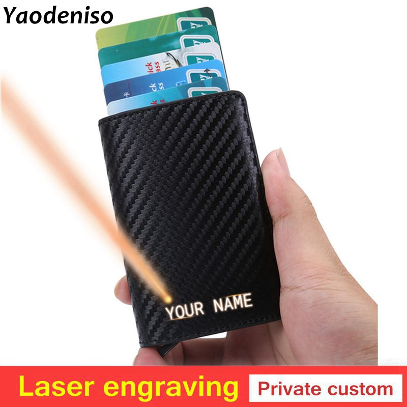 Laser Engraving Men Credit Card Holders Business ID Card Case Fashion Automatic RFID Card Holder Aluminium Bank Card Wallets