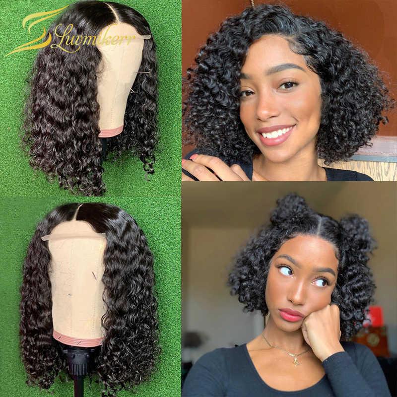 Кудрявые парики, 150% Плотность фронта шнурка человеческие волосы парики пикси Cut тупой короткий Боб 4x4 закрытие парик глубокая вода волна средняя часть