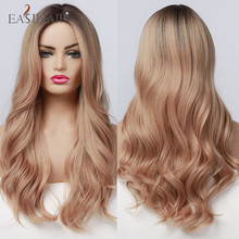 Wavy-Wigs Light Brown Natural-Hair Black Synthetic Long Ombre for Women High-Temperature-Fiber