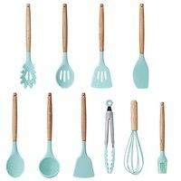 9 stück Kochen Werkzeuge Set Silikon Küche Kochen Utensilien Set Mit Bambus Halter Turner Tong Spatel Löffel Set auf