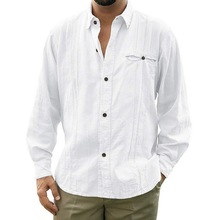 HEFLASHOR Busniess Men Loose Fit Linen Shirts Casual Button Down Shirt Pure Color Long Sleeve Plus Size S-3XL Top