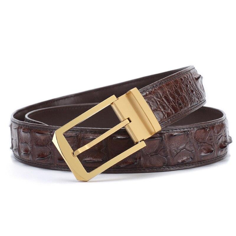 McParko, мужские кожаные ремни с пряжкой, роскошный кожаный ремень из крокодиловой кожи, мужские деловые поясные ремни, коричневые классически... - 6