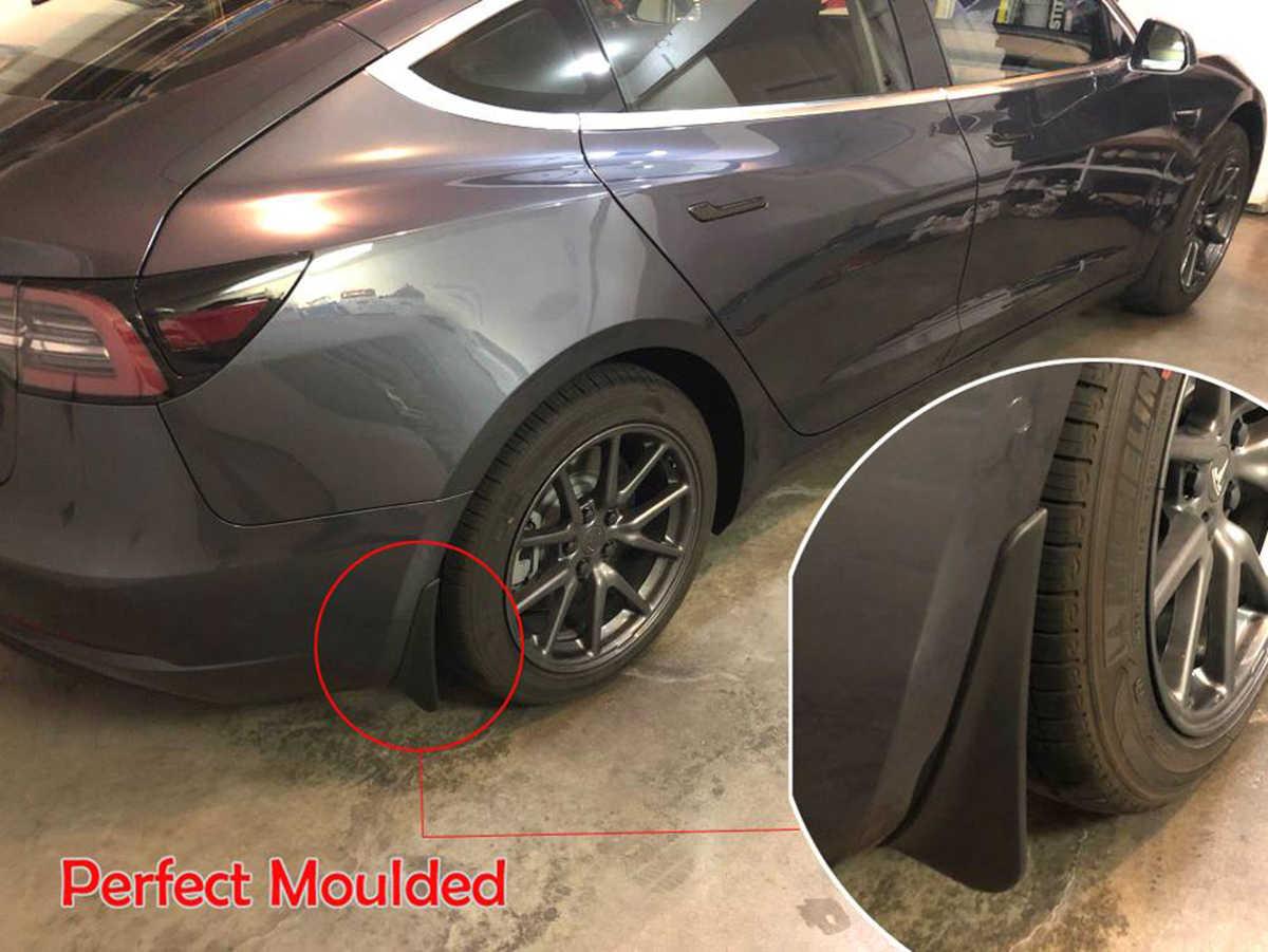 R RUIYA Pack of 4 Tesla Model 3 Mud Flaps Splash Guards Fender Mudflaps Fit Front Rear Mudguard Painted White