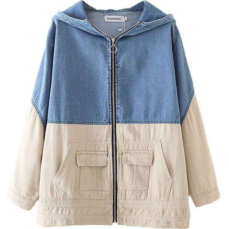 Women Spring Coat Lady Long Sleeve Jean Jacket Woman Hooded Denim Splice Coats Plus Size Casual Fashion S6-9605