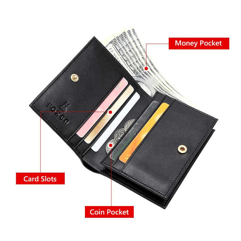 FOXER стильный черный женский кошелек из телячьей кожи сумка для денег модный бренд карты холер для женщин мини кошелек Роскошный монета с изображением Женщины карман