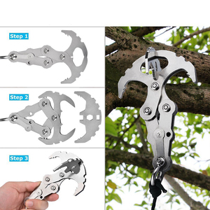 Image 5 - Folding Grappling Hook with Two Carabiners for Outdoor Survival Multifunctional Climbing Claw Carabiner Rescue Tool in Climbing