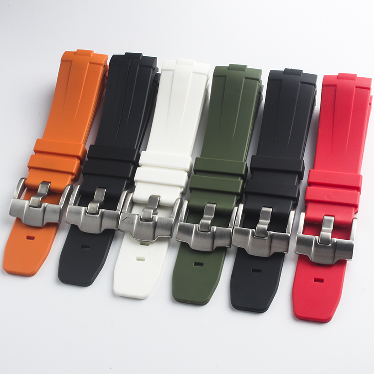Natural rubber 24mm Curved End Orange Black Green Red White Silicone Rubber Watchband For Panerai Watch Strap <font><b>PAM</b></font> <font><b>Bracelet</b></font> Belt image