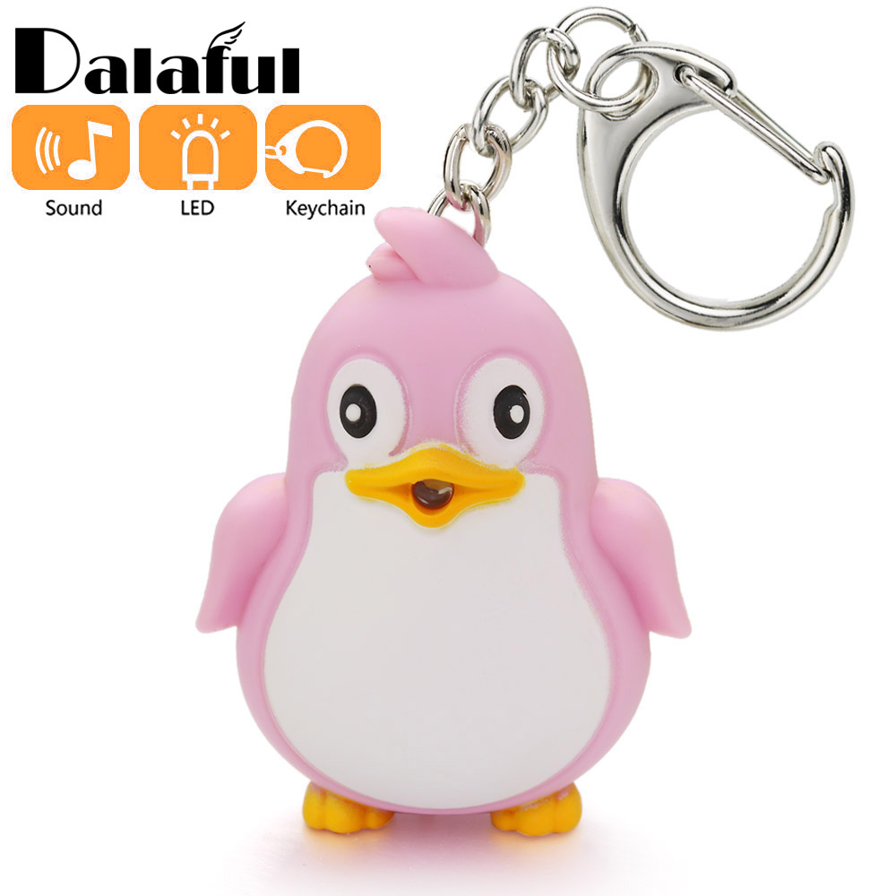 Cute Penguin Keyring LED Torch With Sound Light Keyfob Kids Toy Gift Fun Animal Keyholder Fashlight Keychain K391