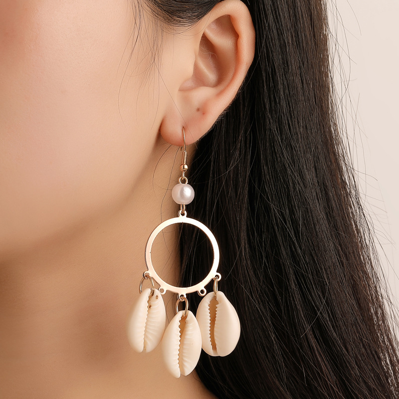 HOCOLE Bohemian Geometric Shell Earrings For Women Vintage Gold Color Metal Pendant Drop Earring Female Party Jewelry Gift