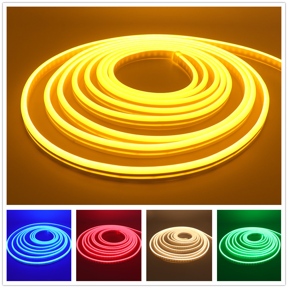 DC 12V Neon Strip Waterproof SMD 2835 120LEDs/m LED Strip Light Flexible LED Neon Sign Lights For Home Decoration Pink Yellow
