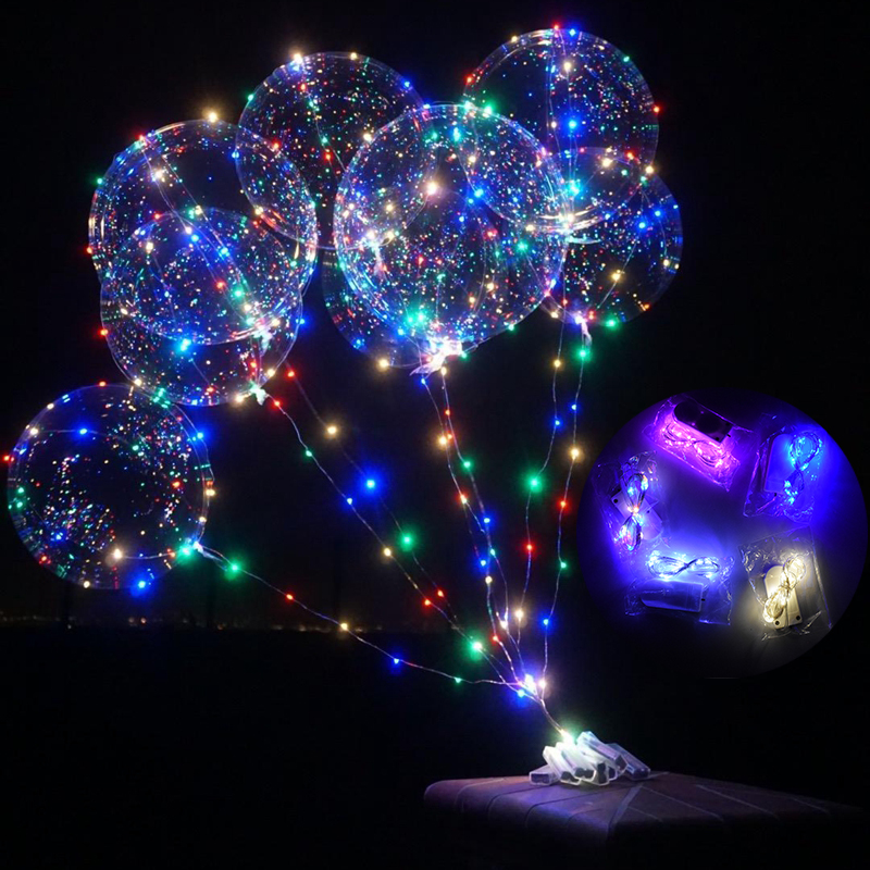 LED Light Up Bobo Balloons Party Decorative Fillable Transparent Balloons With Helium Globes Wedding Birthday Decor Table Ballon