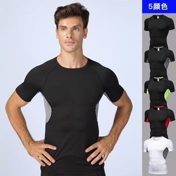 Fitness Clothing Bodybuilding Men Compression Shirt Men #8217 s MMA Tshirt Short Sleeve Quick Dry Workout Bodybuilding Fitness Tops tanie i dobre opinie Wiosna Lato AUTUMN Winter Poliester Pasuje prawda na wymiar weź swój normalny rozmiar