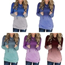 Women Long Sweatshirt Pullovers Hoodied Solid Color Button Lace-Up Pocket Women 2019 New Autumn Winter Sweatshirt lace up solid hooded sweatshirt