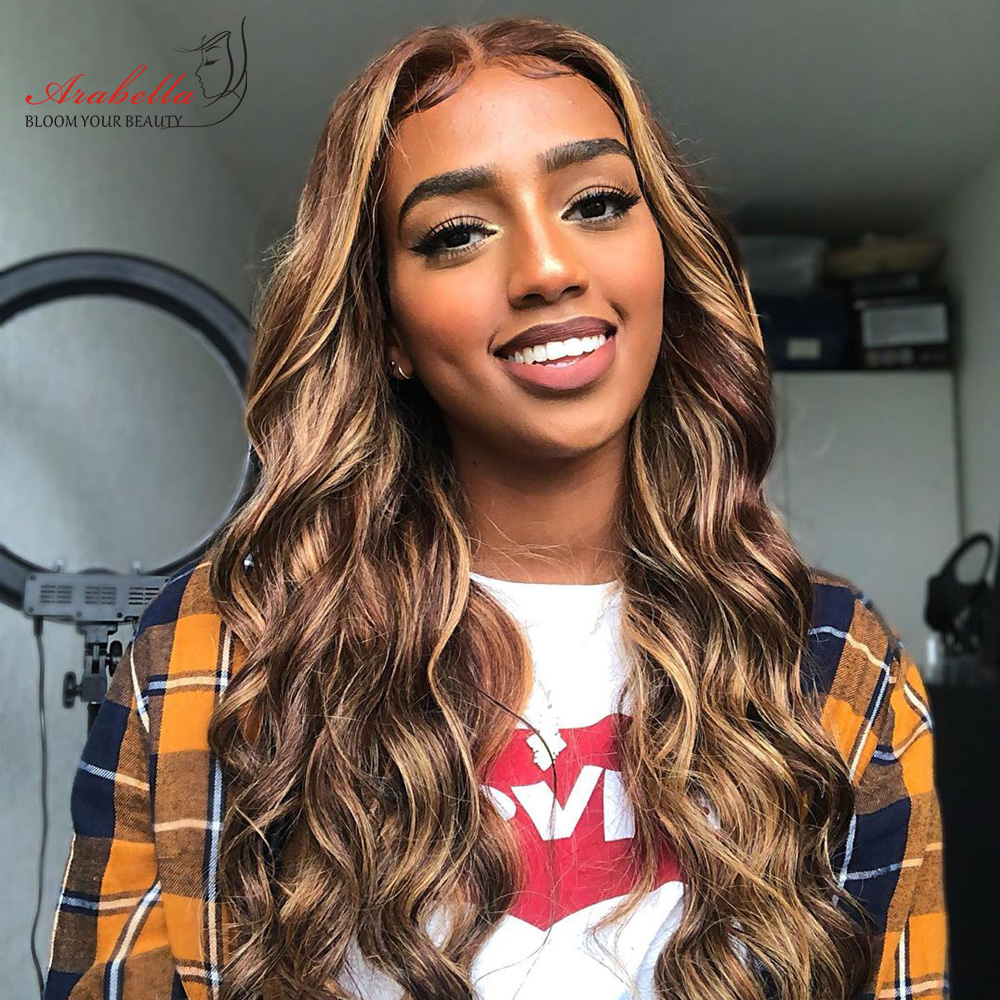 Blonde Streaks 13x4  Wigs With Baby Hair Lace Front Wig Body Wave  Highlight Straight Lace Frontal Wig 3