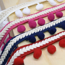 1Meter Pom Trim Ball Ribbon Colorful Lace Knitting Sewing Fabric Handmade DIY Craft Decoration Accessories