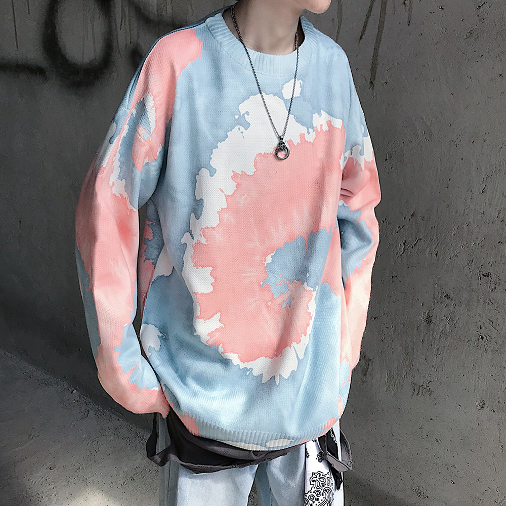 2019 Winter Men's Tie-dyed Coats In Warm Knitting Mens Woolen Pullover Casual Brand Pink/yellow Male Cashmere Sweater Size M-XL