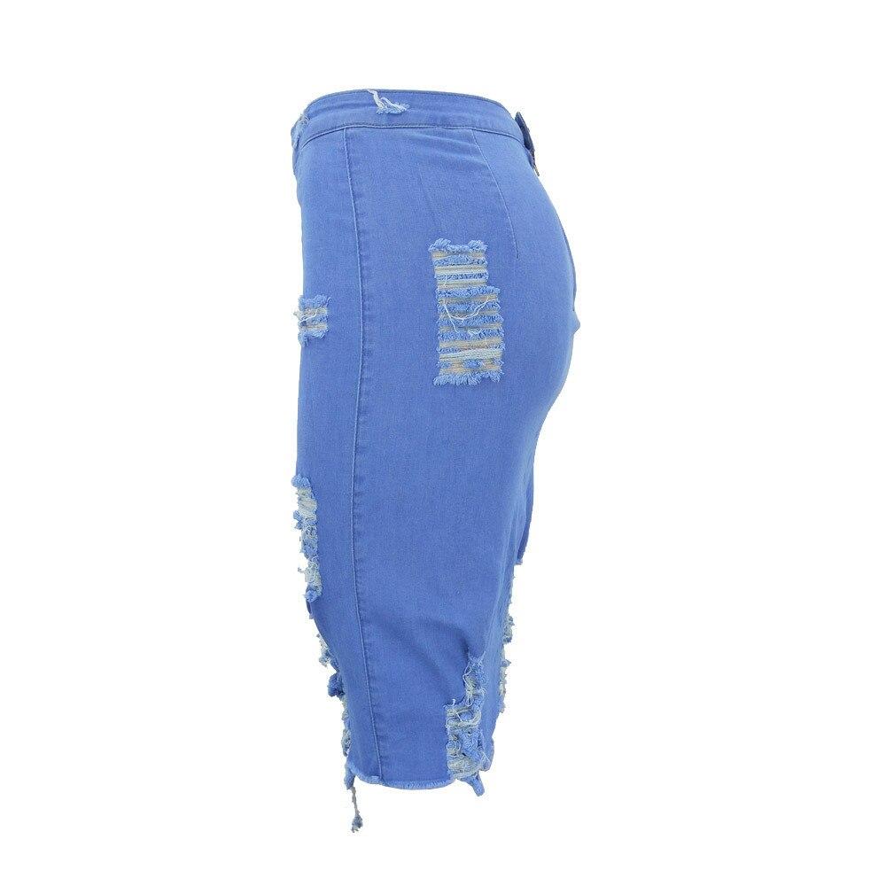 2019 summer Women's A-line Hole Skirt High Waist Ripped Denim Distressed Bodycon Female Pencil Mini Jean Skirt Casual 5