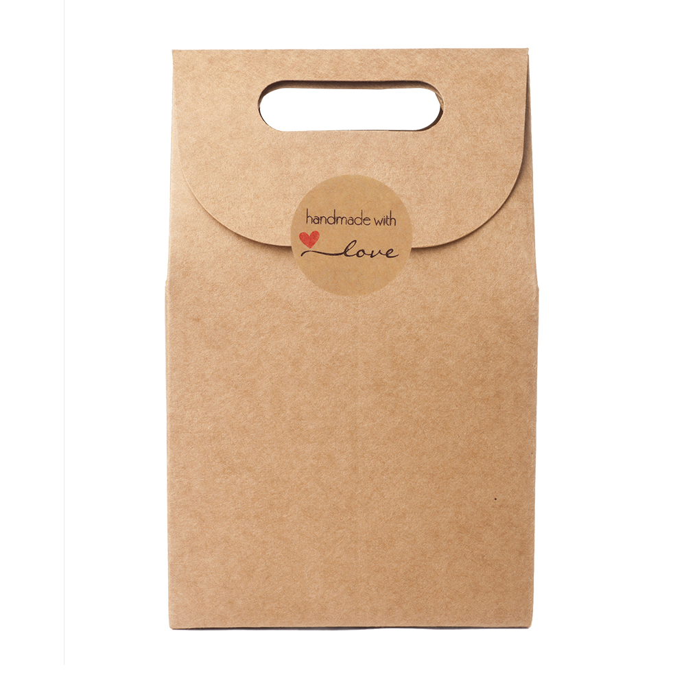 Decor Cookie Bags Box Package Label Tag Handmade with Love Kraft Stickers