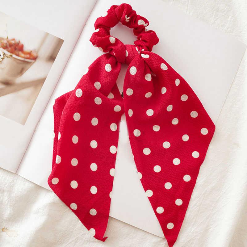 Kadın flamalar Scrunchies Polka Dot çiçek baskı elastik yay saç halat kız saç bağları kore tatlı saç aksesuarları şapkalar