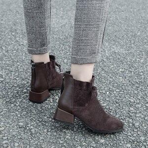 Image 5 - JIANBUDAN الخريف الشتاء المألوف المرأة حذاء من الجلد المدبوغ الراحة تشيلسي الأحذية أفخم الدافئة مكتب الإناث عالية الكعب 34 42