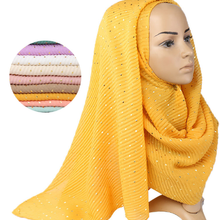 200*90cm algodao crinkle hijab cachecol solido lantejoulas xales e envolver turbante para mulher hijab femme muculmano c