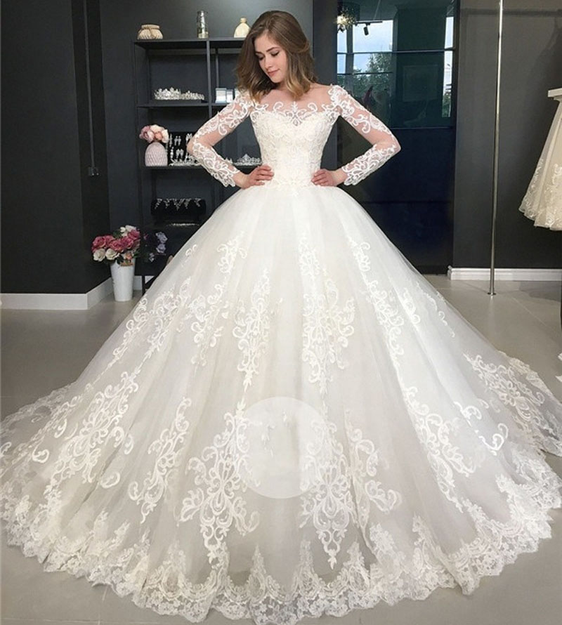 Princess Wedding Dress Long Sleeves Lace Appliques Sheer Scoop Ball Gowns Gorgeous Bridal Gowns Bride Dress Vestido De Noiva