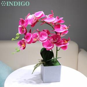 Image 2 - INDIGO  (1 zestaw) orchidea aranżacja prawdziwe z wazonem dotyk Bonsai kwiat na wesele dekoracja centralny kwiaciarnia Dropshipping