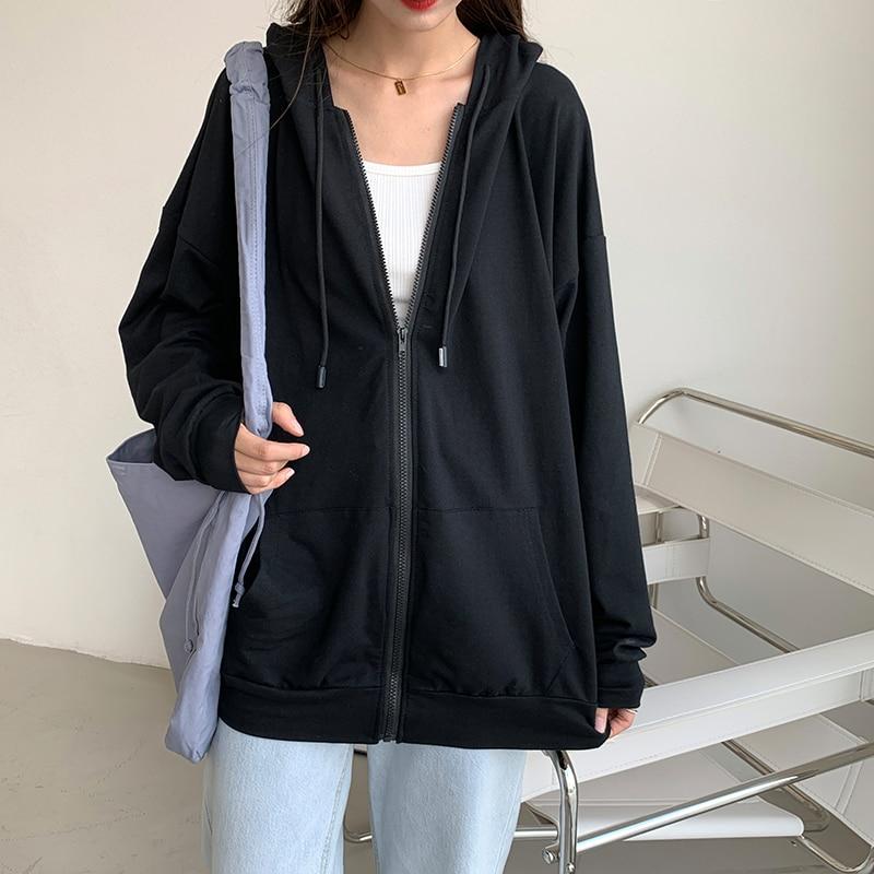 Harajuku Korean version loose thin long-sleeved hooded sun protection coat solid color retro shirt student girl top 1
