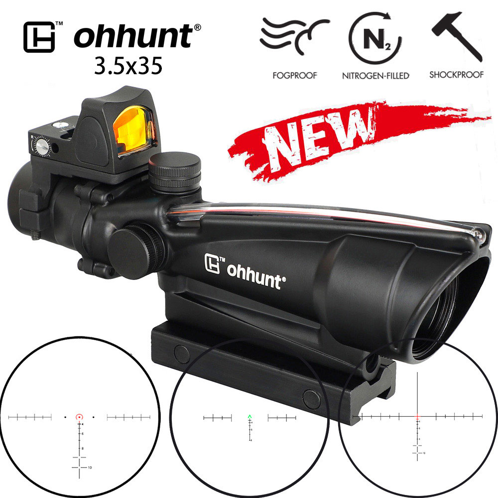 Ohhunt 3.5X35 ACOG Style Three Model Reticle Red Or Green Illuminated Tactical Rifle Scope With Red Dot Hunting Optical Sights