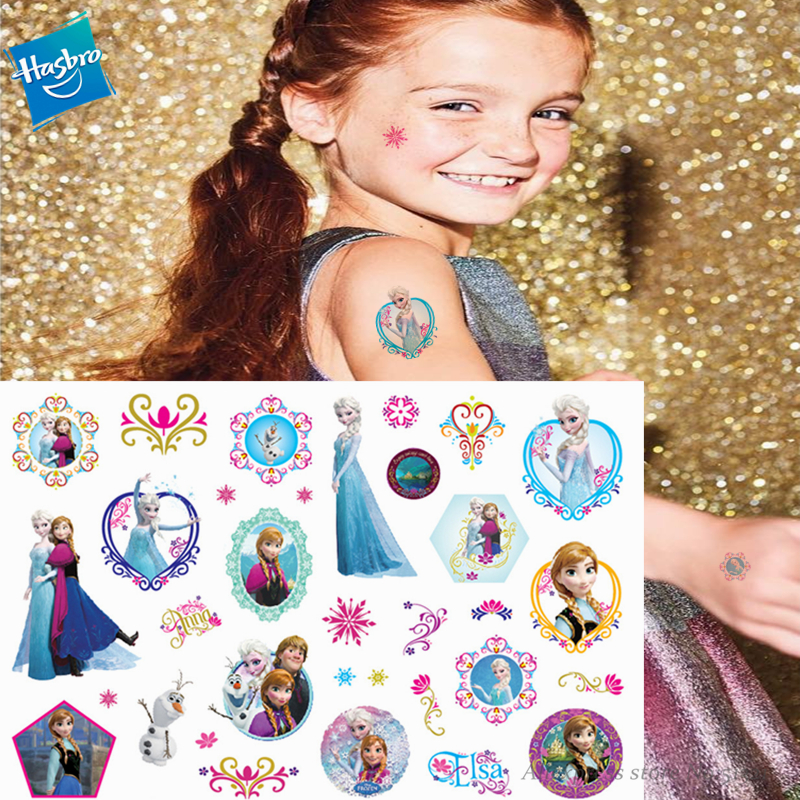 Hasbro Princess Elsa Frozen Children Cartoon Temporary Tattoo Sticker For Girl Cartoon Toy Birthday Party Waterproof  Girl Gift