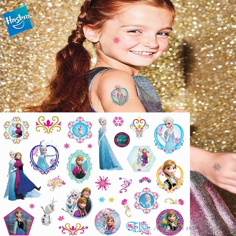 Hasbro Princess Elsa Frozen Children Cartoon Temporary Tattoo Sticker For Girl Cartoon Toy Birthday Party Waterproof  Girl Gift