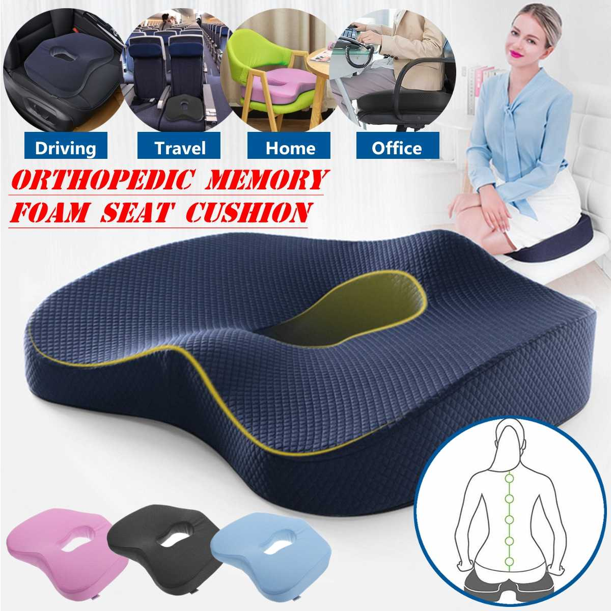 Non-Slip Orthopedic Memory Foam Seat Cushion For Office Chair Car Wheelchair Back Support Sciatica Coccyx Tailbone Pain Relief