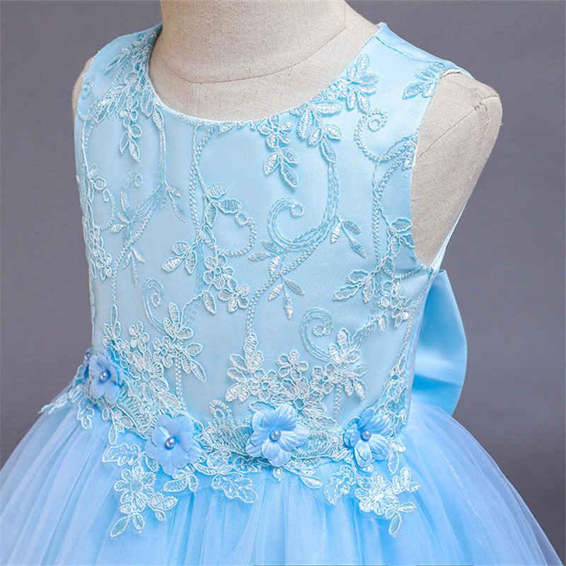 זה Yiiya פרח ילדה שמלת קשת תחרה חתונות אלגנטי ילד מסיבת שמלות O-צוואר ורוד כחול הקודש שמלות עבור בנות 2019 188