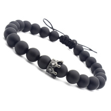 Crown Matte Black Lava Stone Bead Bracelets for Men Woman Adjustable Charm Hand Jewelry gift DropShipping 8mm