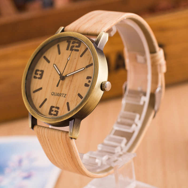 אופנה שעונים נשים גברים קוורץ שעוני יד מקרית עץ צבע עור רצועת עץ שעון Reloj Mujer נשים שעון Montre Homme