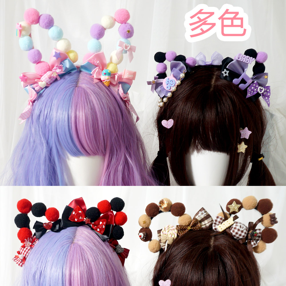 Strawberry Cream Kawaii Cat & Bear & Rabbit Ears Bow Head Hoop Sweet Princess Hair Band Candies Headwear Lolita Cute KC Headband