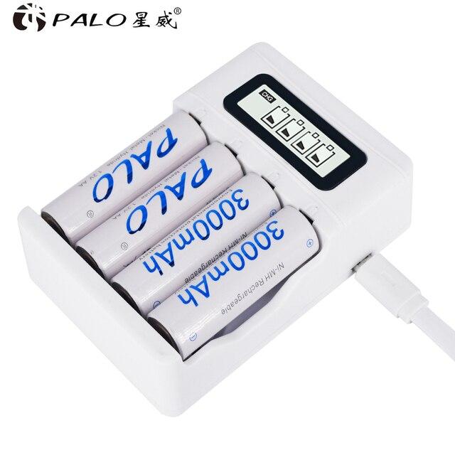 الجملة USB شاحن سيارة الذكاء 4 فتحات شاشة الكريستال السائل شاحن بطارية ل AA/AAA بطاريات قابلة للشحن