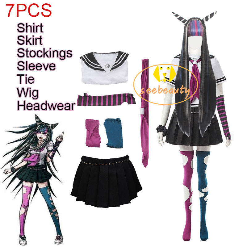 7PCS Ibuki Mioda Cosplay Custome Dangan Ronpa 2 Wiedersehen Verzweiflung Hemd Kleid Lange Perücke Schule Mädchen JK Uniform Rock set Halloween