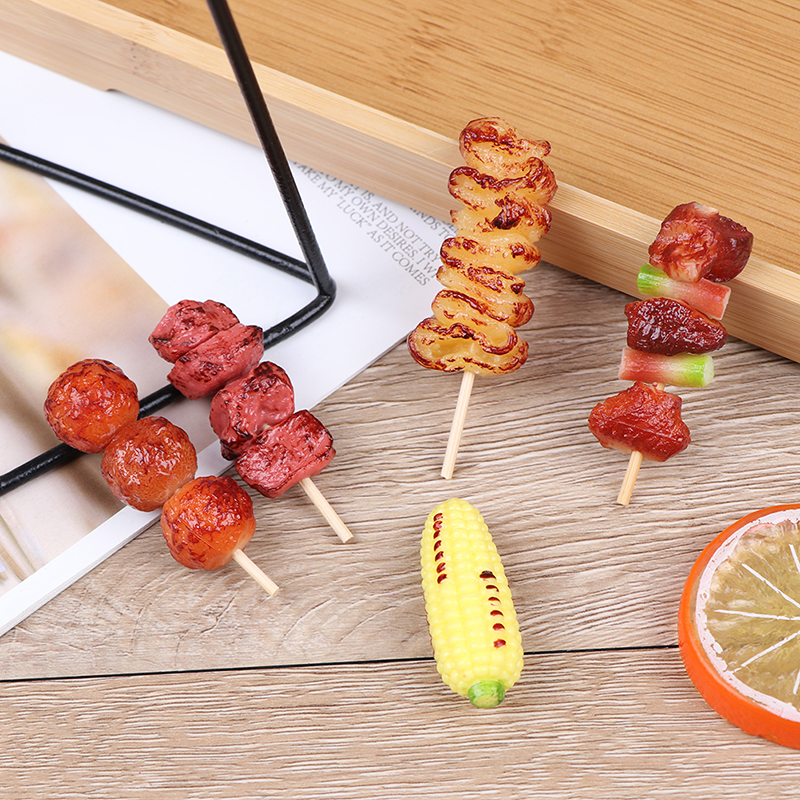 1pc Mini Simulation BBQ Miniature For Doll House Kitchen Decoration Crafts Toys For Children Pretend Play Food Toy