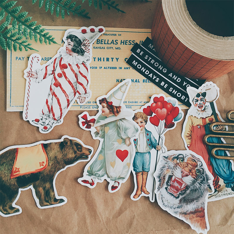 Vintage Letter Stickers Clown Circus DIY Scrapbooking Album Journal Card Making Happy Planner Crafts Decorative Stickers Package
