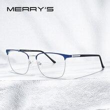 MERRYS Дизайнерские мужские квадратные ультралегкие очки для близорукости, очки по рецепту, модные стильные мужские роскошные очки из сплава, оправы для очков S2058
