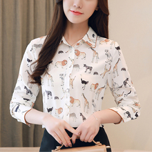 Autumn Korean Fashion Women Chiffon Shirt Elegant Woman Long Sleeve Print Blouses Plus Size Tops and