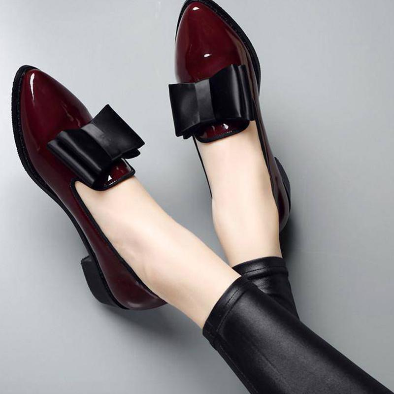 Women Bow Low Heels Women's Pointed Toe Patent Leather Pumps Woman Slip On Platform Fashion Ladies Shoes Female Footwear 2021